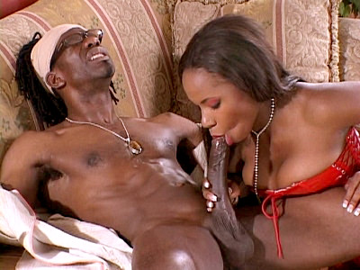 Young Ebony Wife Slurping a Black Meat